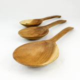 Three hand carved teak serving spoons