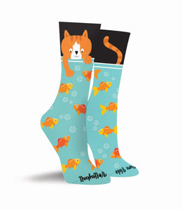 Cat Volleyball & Fish Crew Socks