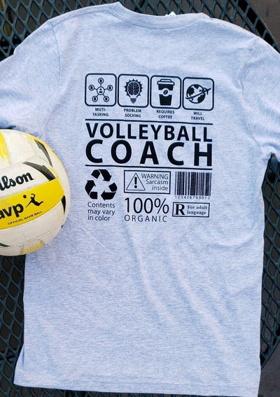 Pura Vida Volleyball Coach T-Shirt Grey - Pura Vida Volleyball