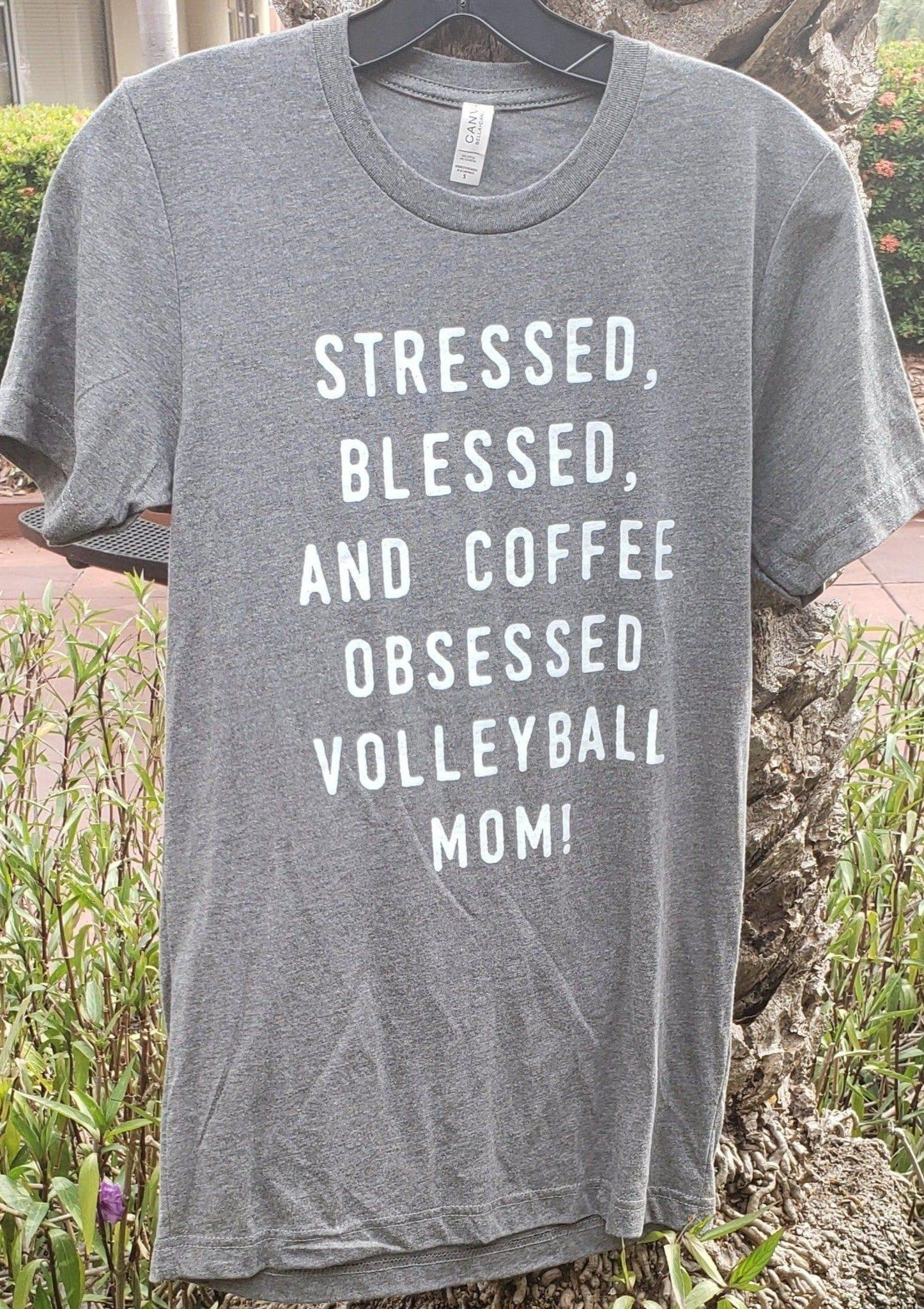 Stressed, Blessed, And Coffee Obsessed Volleyball Mom T-shirt