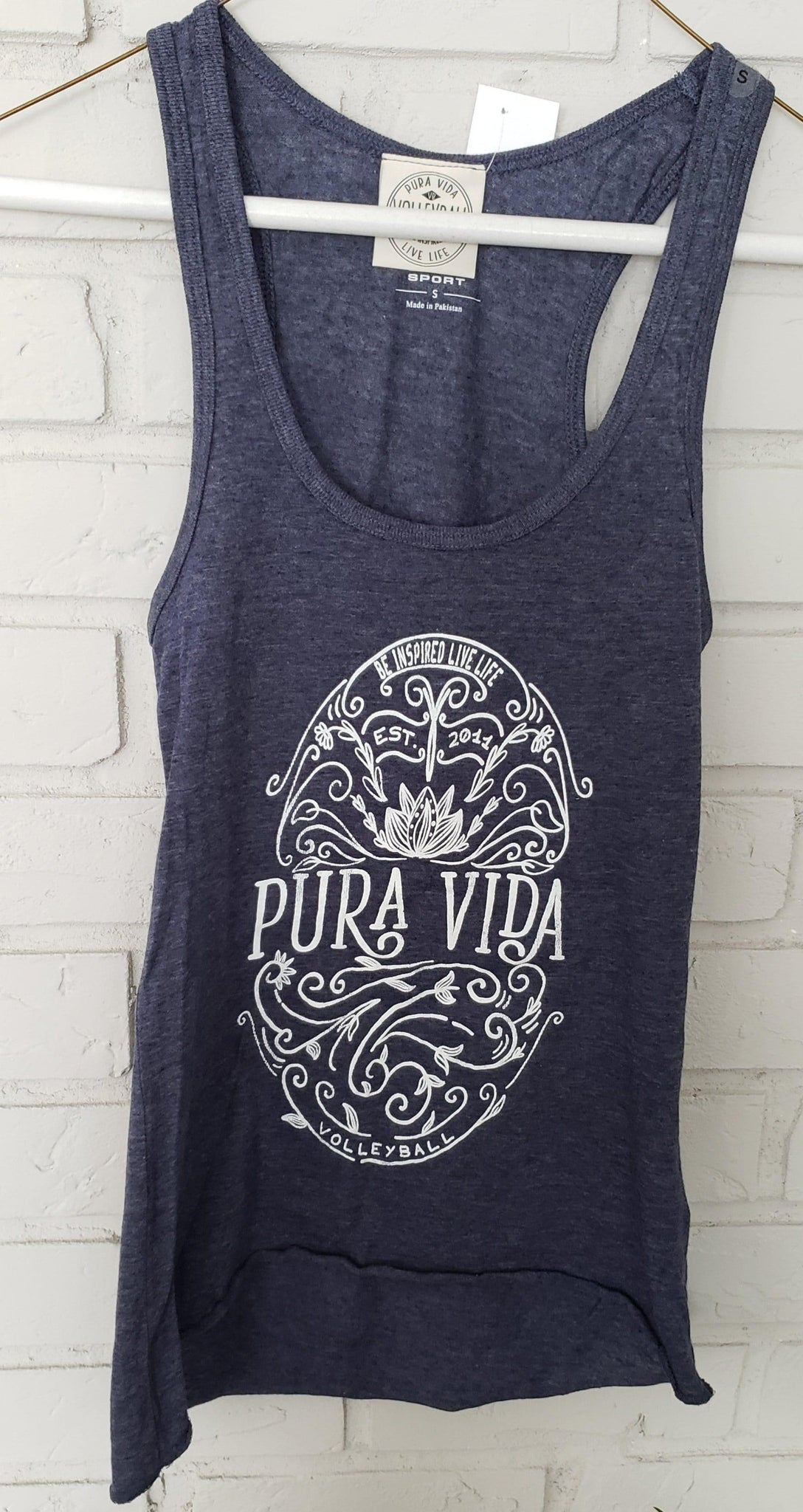 Navy Be Inspired Live Life Pura Vida Volleyball Tank