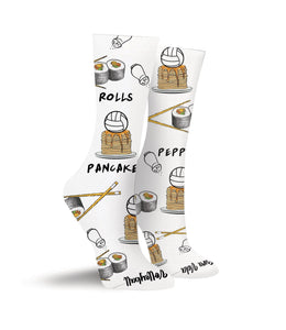 Rolls. Pepper. Pancakes. Volleyball Crew Socks