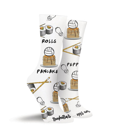 Rolls. Pepper. Pancakes. Volleyball Crew Socks - Pura Vida Volleyball
