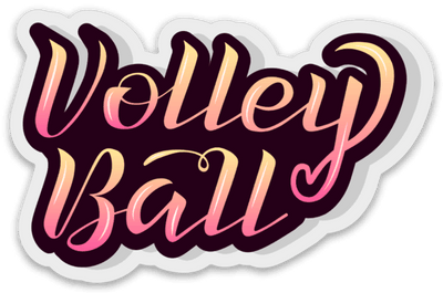Volleyball Sticker Pink & Yellow Heart - Pura Vida Volleyball