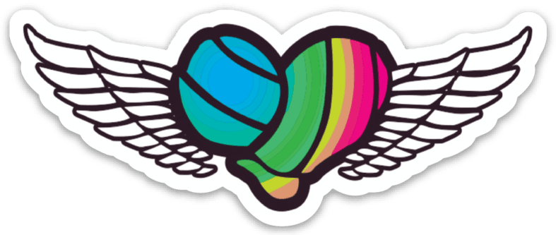 Volleyball Rainbow Heart with Wings Sticker - Pura Vida Volleyball