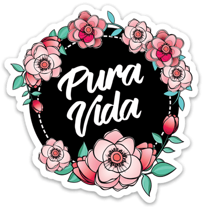 Floral Pura Vida Sticker - Pura Vida Volleyball