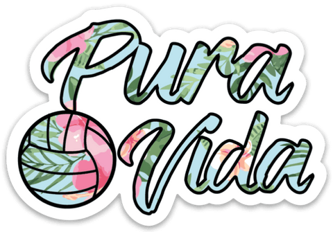 Volleyball Floral Pura Vida Sticker - Pura Vida Volleyball