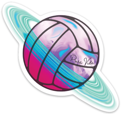 Pura Vida Volleyball Planet Sticker