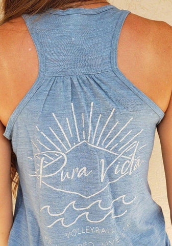 Pura Vida Volleyball Tank Top - Light Blue - Pura Vida Volleyball