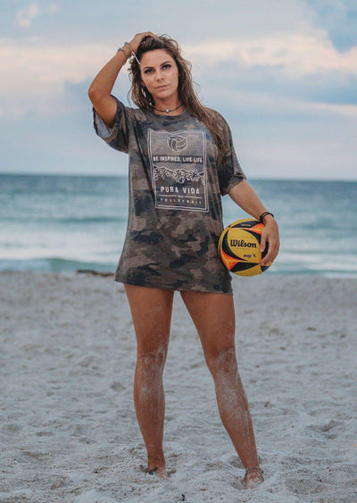 Volleyball Palms Army Camo Short Sleeve - Pura Vida Volleyball