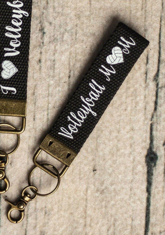 Volleyball Mom Canvas Key Fob Keychain