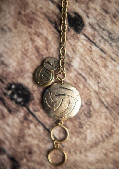 Big Volleyball Bangle Chain Bracelet Vintage Gold - Pura Vida Volleyball