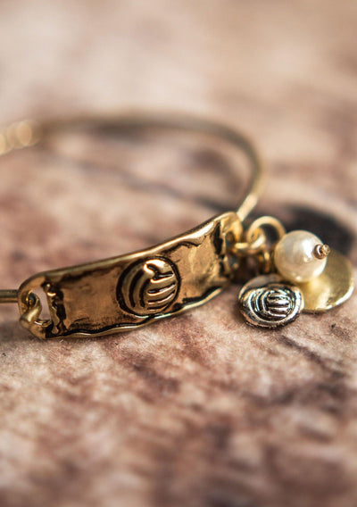 Volleyball Bangle Bracelet Vintage Gold - Pura Vida Volleyball