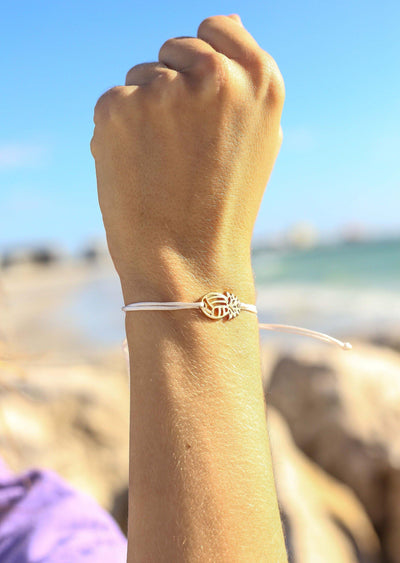 Pineapple VB String Bracelet - White - Pura Vida Volleyball