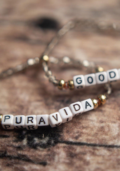 Pura Vida Good Vibes Beaded Bracelet Pair - Pura Vida Volleyball
