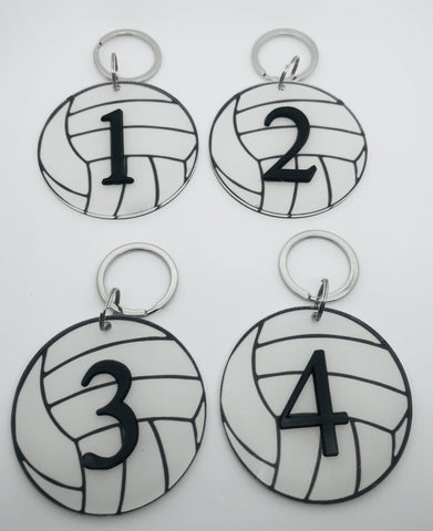 Numbered Volleyball Keychain Bag Tag - Pura Vida Volleyball