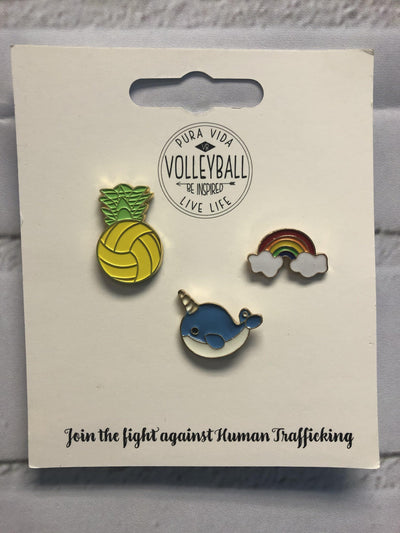 Pura Vida Volleyball Pin Package: Pineapple Volleyball, Rainbow, Narwhal Pin - Pura Vida Volleyball