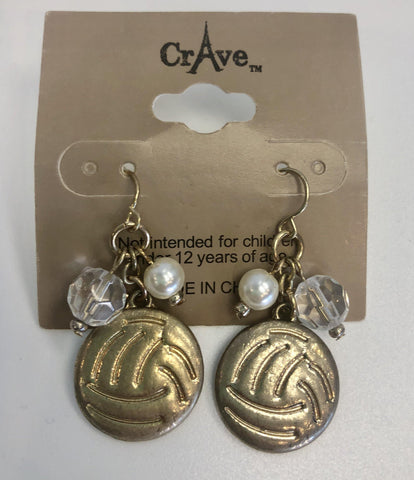 Volleyball Gold Vintage Earrings - Pura Vida Volleyball