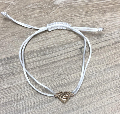 Inspired Live Life Heart VB String Bracelet Volleyball White Rope - Pura Vida Volleyball