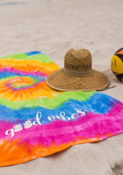 Good Vibes Tie-Dye Towel - Pura Vida Volleyball