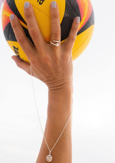 Silver Volleyball Flat Pendant Necklace - Pura Vida Volleyball