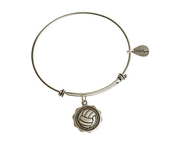 Silver Expandable Bangle Charm Bracelet Volleyball - Pura Vida Volleyball