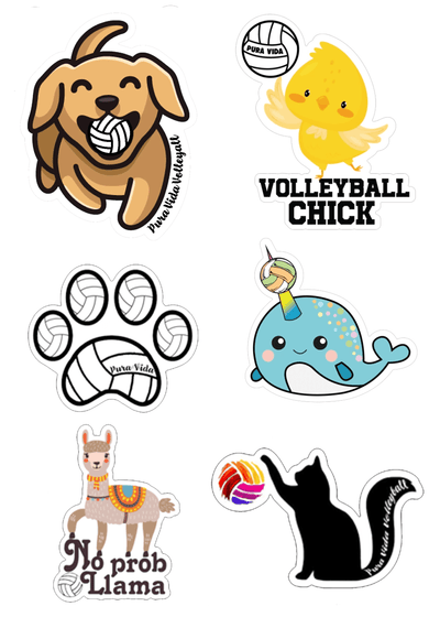 Animal Volleyball Sticker Pack - Pura Vida Volleyball
