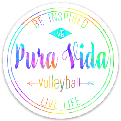 Colorful Pura Vida Volleyball Logo Sticker - Pura Vida Volleyball