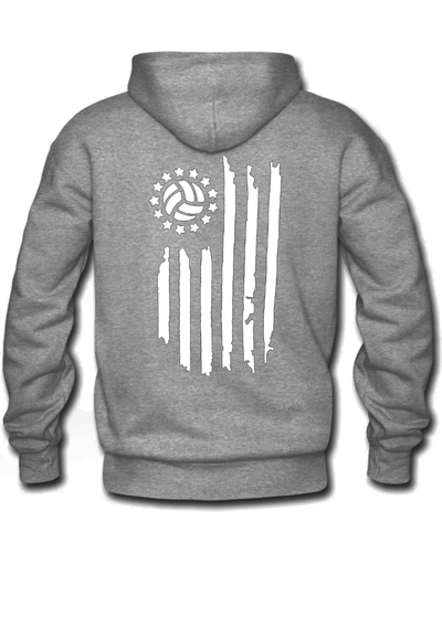 Grey Volleyball Flag Hoodie - White Graphics - Pura Vida Volleyball