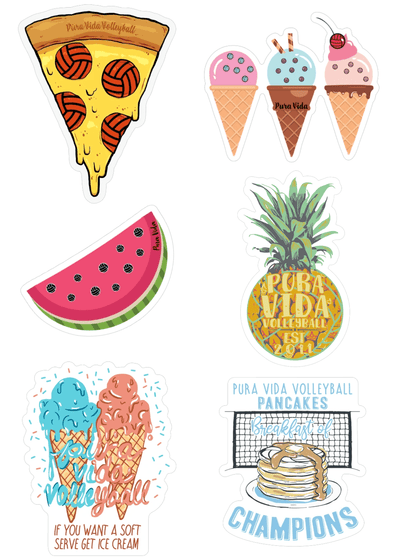 Tasty Volleyball Sticker Pack - Pura Vida Volleyball