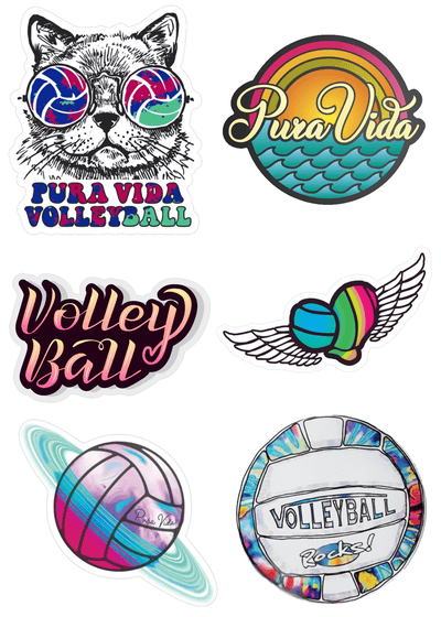 Groovy Volleyball Sticker Pack - Pura Vida Volleyball