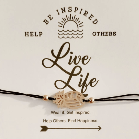 Be Inspired Live Life Pineapple VB Bracelet Volleyball - Pura Vida Volleyball