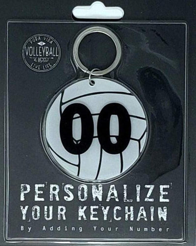Personalized Volleyball Keychain with Number - Pura Vida Volleyball