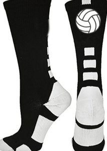 Volleyball Black Crew Socks - Pura Vida Volleyball