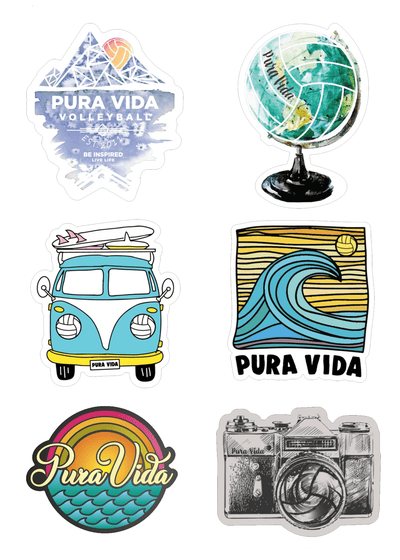 Travel Volleyball Sticker Pack - Pura Vida Volleyball