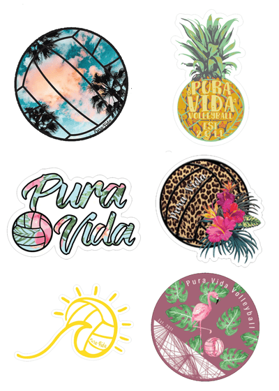 Tropical Volleyball Sticker Pack - Pura Vida Volleyball