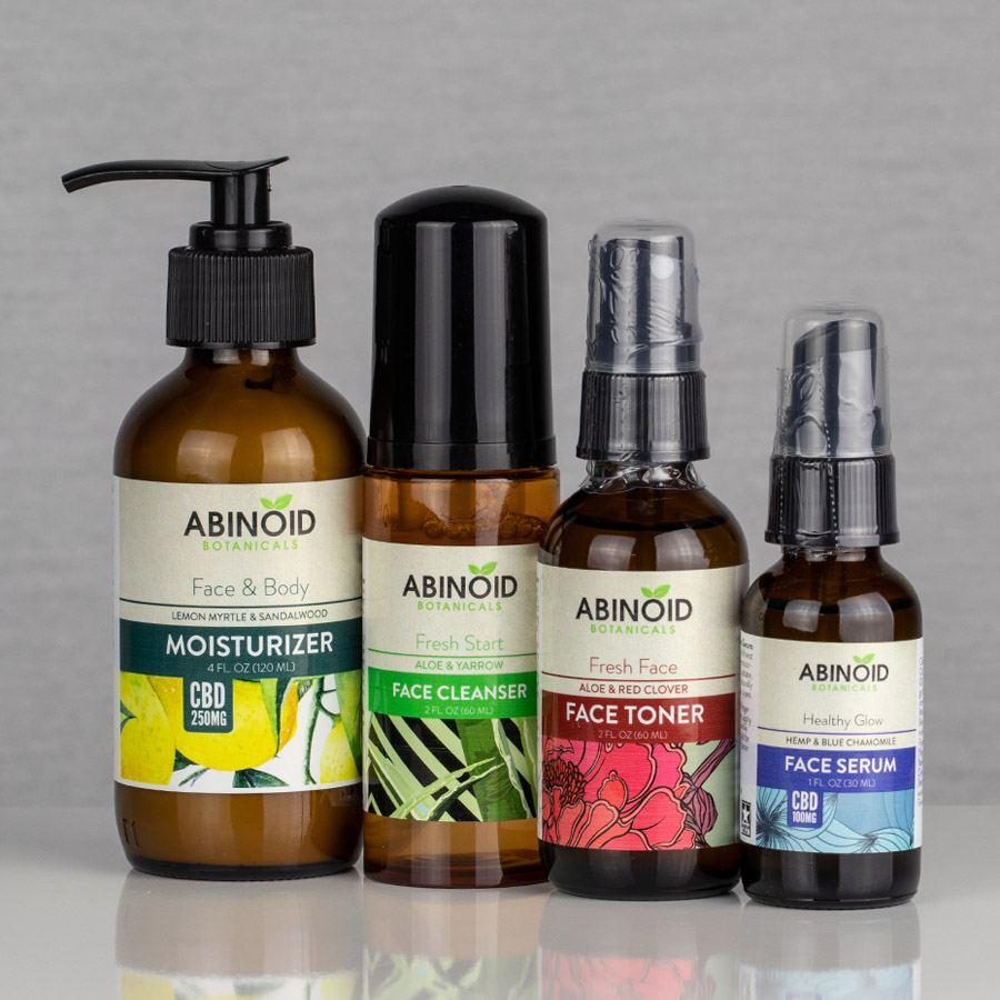 Abinoid Botanicals Skin Care Kit - Face Cleanser, CBD Face Serum, Toner, and Face & Body Moisturizer