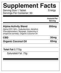 Supplement Facts for Fuel CBD Capsules 30ct Bottle