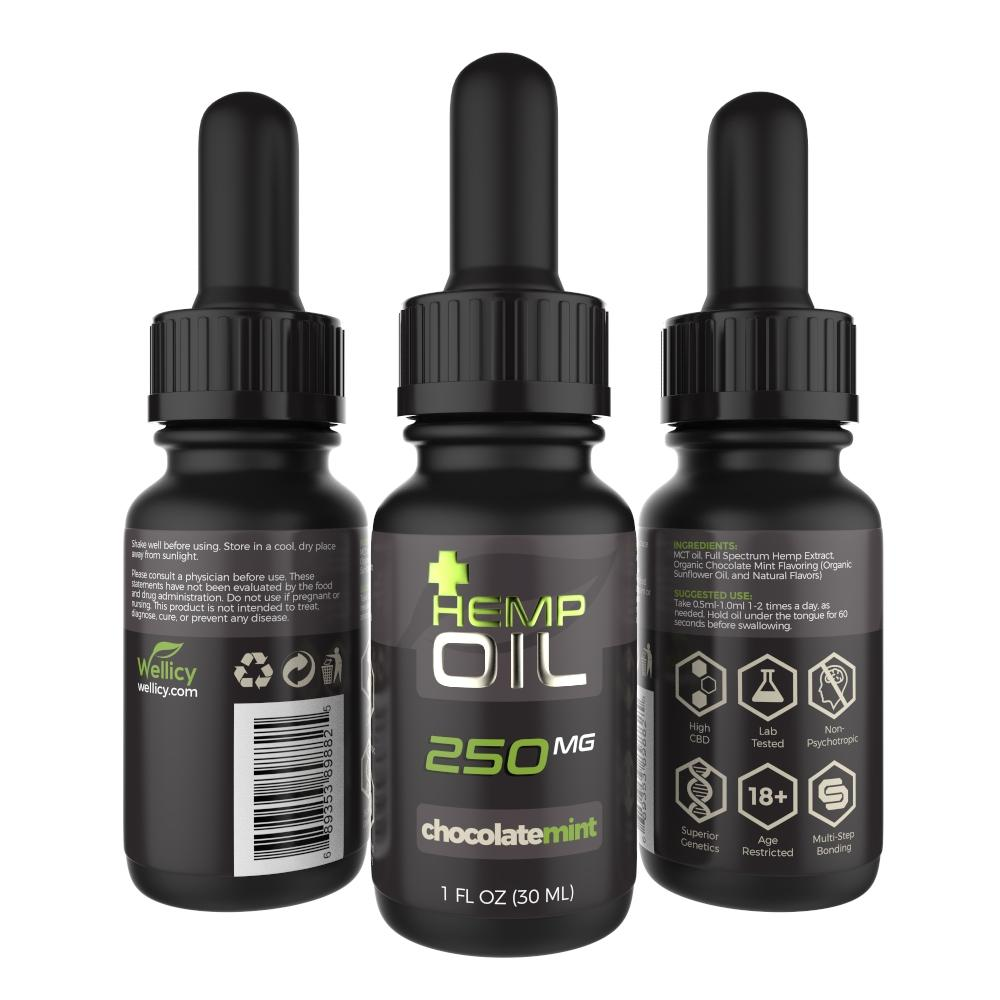 Wellicy CBD Hemp & MCT Oil Tincture - Chocolate Mint