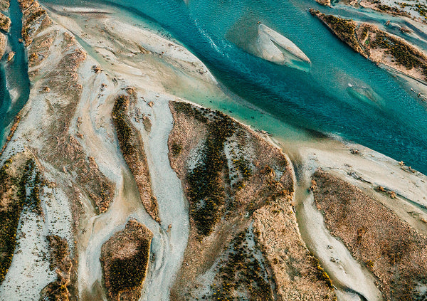 Waitaki River Braids Photographic Print, North Otago New Zealand