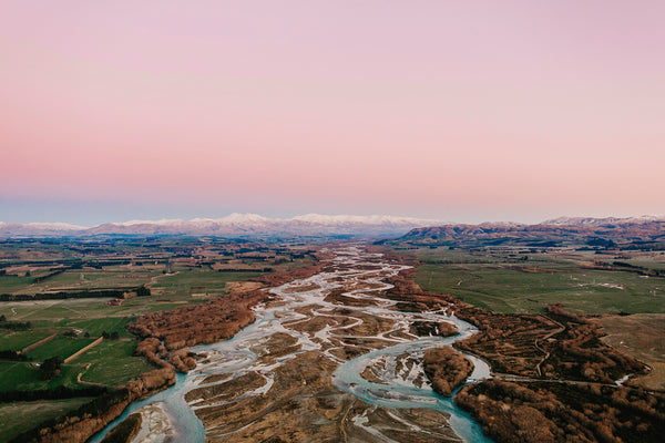Braided River to Mountains Photographic Print 1, North Otago New Zealand