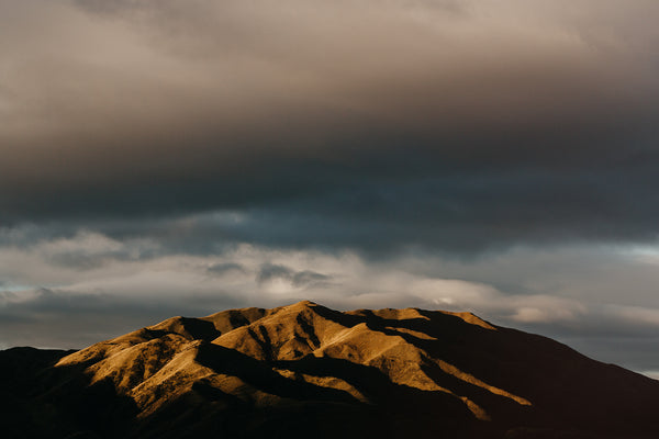 hills at sunset in kurow new zealand photographic print
