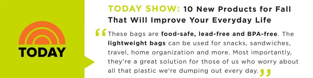 These bags are food-safe, lead-free and BPA-free. The lightweight bags can be used for snacks, sandwiches, travel, home organization and more.