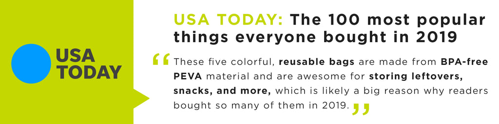 These five colorful, reusable bags are made from BPA-free PEVA material and are awesome for storing leftovers, snacks, and more, which is likely a big reason why readers bought so many of them in 2019.