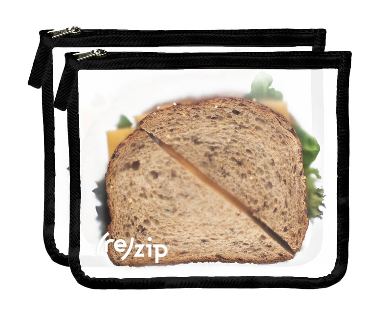 rezip Zippered Medium Reusable Storage Bags - 2-pack with sandwiches