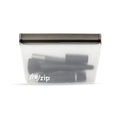 rezip Gray Seal bag with makeup brushes and other cosmetics, in a waterproof resealable bag.