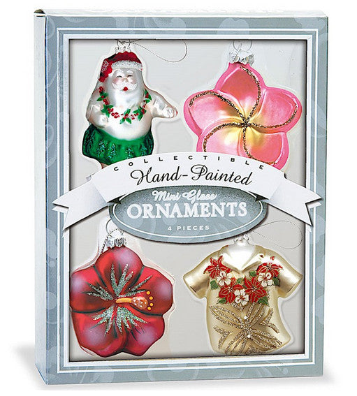 Hand-painted Hawaiian Christmas Ornament Set
