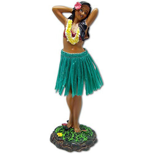 Hula Dashboard Doll - Hula Girl Flower Placing Pose