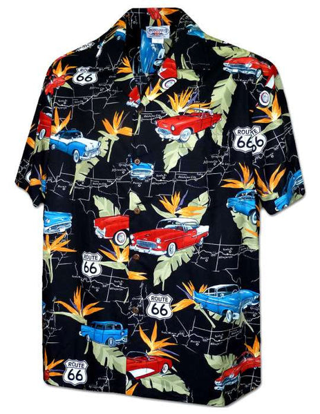 Hawaiian Shirt Route 66 (black)