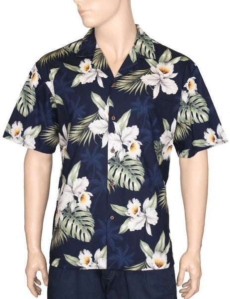 Hawaiian Shirt Orchids Makani (navy)